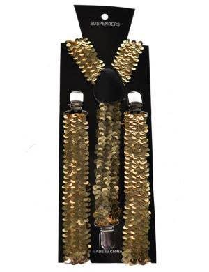 Sequinned Costume Suspenders in Gold