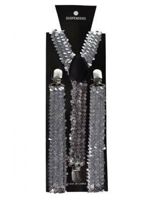 Sequinned Costume Suspenders in Silver
