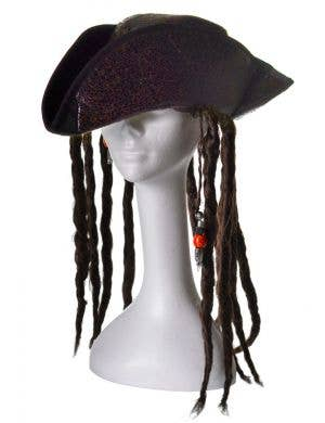 Leather Look Brown Pirate Hat With Attached Hair