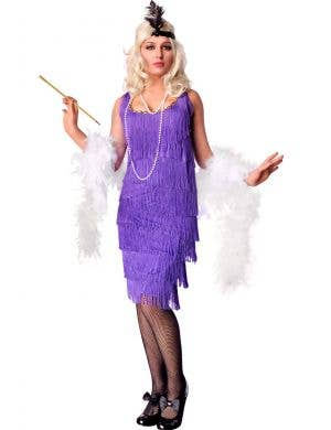 Women's Long Purple Flapper Costume Dress Front View