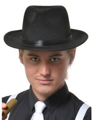 Black Feltex 1920's Gangster Fedora Hat