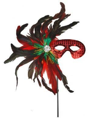 Red Feather Hand Held Masquerade Mask
