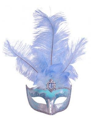 Pale Blue Masquerade Mask With Tall Feathers