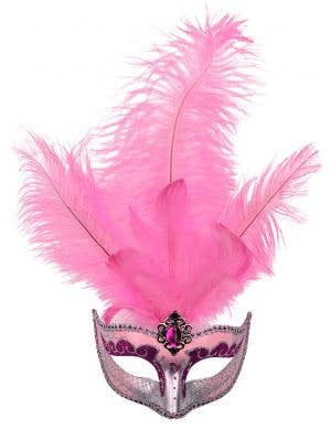Pink Tall Feather Masquerade Mask