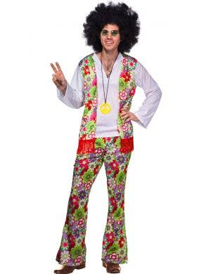 Men's Floral Peace Hippie 1970's Costume Front View