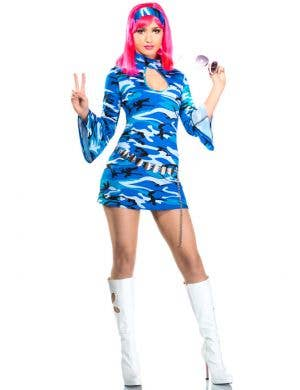 Women's Retro Blue Go Go Dancer Costume Main Image