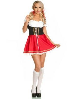 German Women's Red Oktoberfest Beer Wench Costume