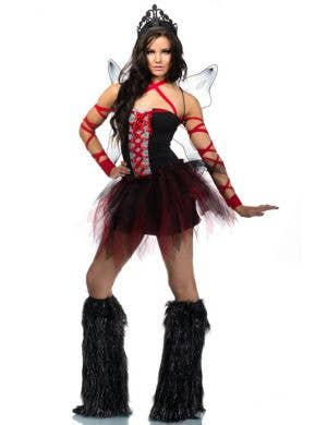 Women's Red and Black Bad Fairy Halloween Costume Front Image