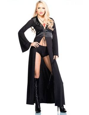 Women's Long Black Halloween Costume Robe Front Image
