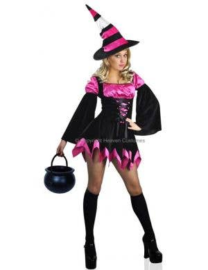 Women's Sexy Pink Witch Halloween Costume Main Image