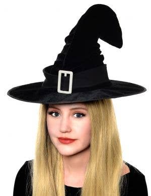 Crooked Black Velvet Witch Hat Costume Accessory