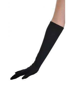 Elbow Length Basic Black Costume Accessory Gloves