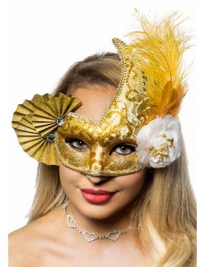 Elaborate Gold Fan Masquerade Mask