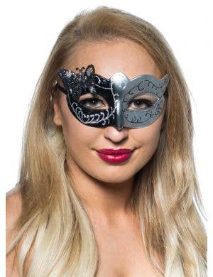 Butterfly Venetian Mask in Black and Silver