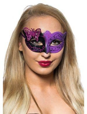 Butterfly Venetian Mask in Black and Purple