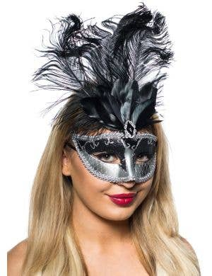 Elegant Tall Feather Mask Masquerade Black and Silver