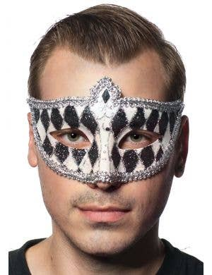 Harlequin Glitter Venetian Masquerade Mask - Black and White