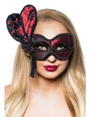 Women's Deluxe Red and Black Brocade Masquerade Mask View 1