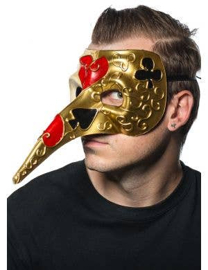 Men's Gold And Cream long Nose Card Symbol Venetian Mask Side