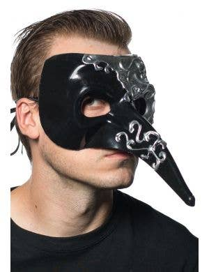Long Nose Venetian Mask - Black and Silver