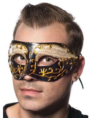Men's Black And Gold Music Notes Masquerade Mask Main Image