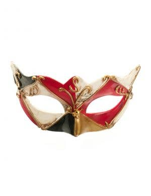 Antiqued Music Venetian Mask - Red & Gold
