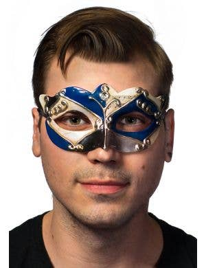 Antique Blue Venetian Masquerade Mask For Men Main Image