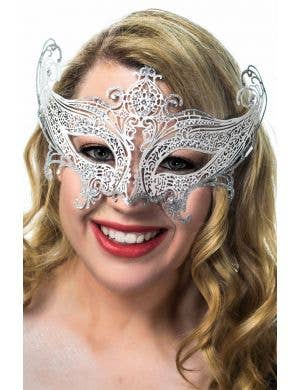 Divine Light Weight White Metal Mask with Silver Glitter and Rhinestones view 1
