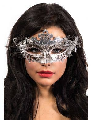 Metal Overlay Silver Glitter Masquerade Mask