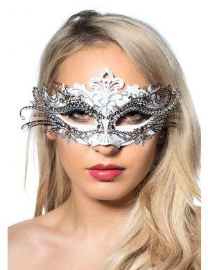 Metal Overlay White Glitter Masquerade Mask