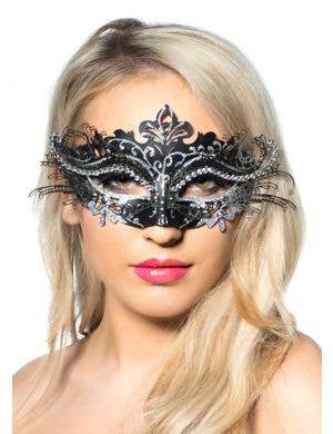 Metal Overlay Black Glitter Masquerade Mask