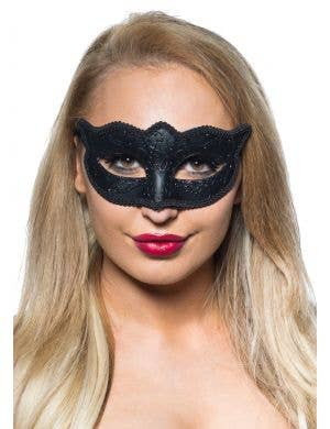 Matte Black Women's Venetian Masquerade  Mask