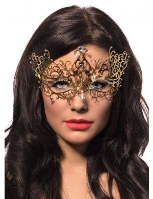 Women's Delicate Metal Mask in Gold view 1