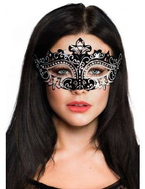 Cut Out Masquerade Mask with Rhinestones - Black