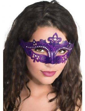Cut Out Masquerade Mask with Rhinestones - Purple