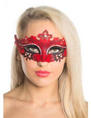 Cut Out Masquerade Mask with Rhinestones - Red
