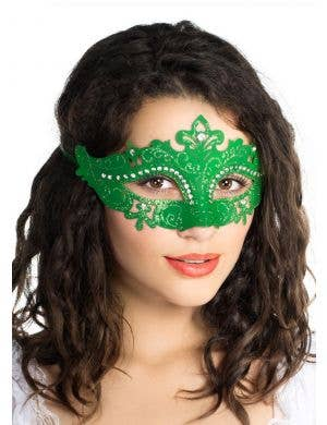 Cut Out Masquerade Mask with Rhinestones - Green