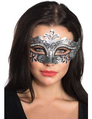 Cut Out Masquerade Mask with Rhinestones - Silver