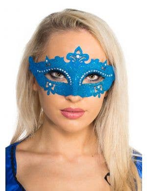 Cut Out Masquerade Mask with Rhinestones - Blue