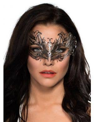 Antique Fossils Lightweight Silver Metal Masquerade Mask