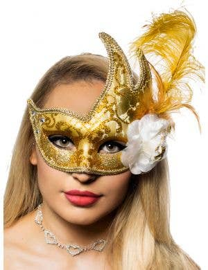 Jeweled Gold Luxury Feather Masquerade Mask