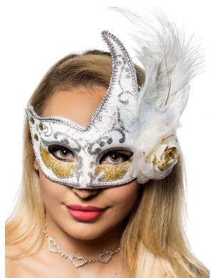 Women's Deluxe Crackle paint Feather mask