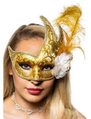 Crackle Paint Luxury Gold Feather Masquerade Mask