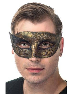 Men's Antique Bronze Gothic Masquerade Mask, Front View