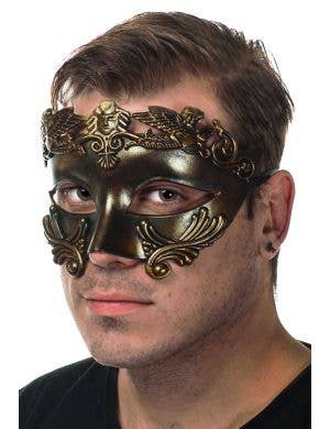 Men's Bronze Age Ancient Caesar Masquerade Mask Side View