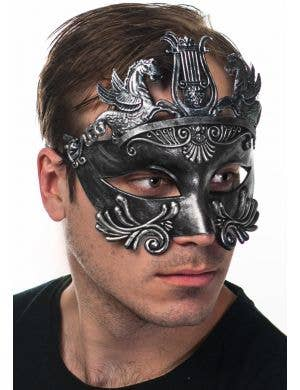 Men's Antique Pewter Centurian Ancient Roman Masquerade Mask Side View