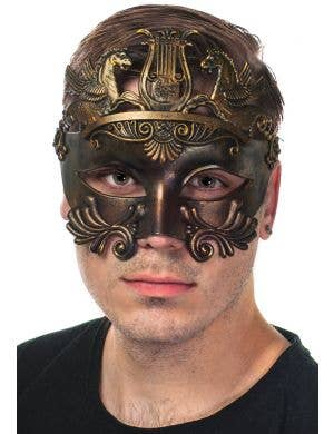 Antique Bronze Men's Ancient Centurion Masquerade Mask Front View