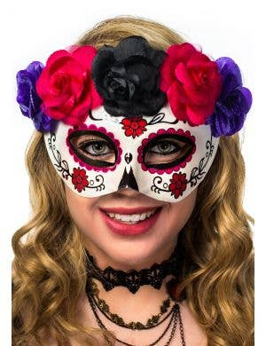 Women's Day of the Dead Sugar Skull Masquerade Mask in Pink and Purple