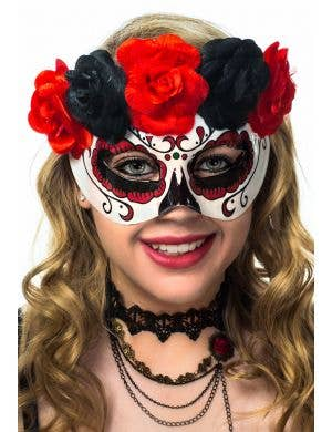 Women's Day of the Dead Sugar Skull Red and Black Masquerade Mask