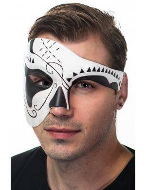 Men's Matte Finish Skull Day of the Dead Masquerade Mask Front View